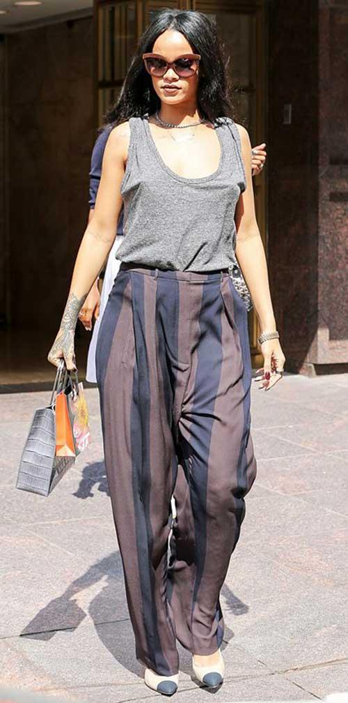 Rihanna with Long Dark Hairstyles