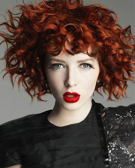 Short  Curly Red Hair With Bangs