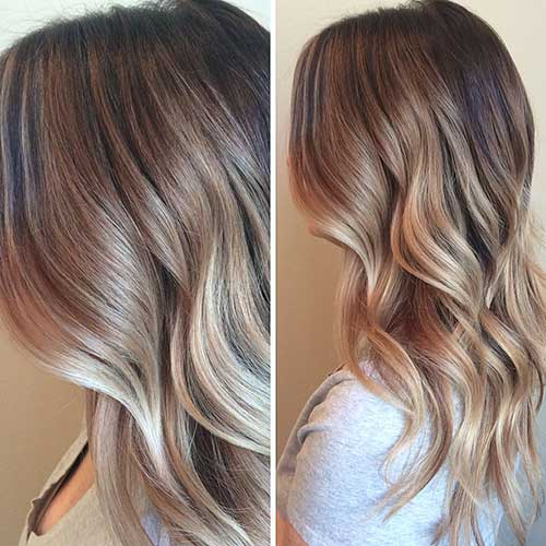 Balayage Highlights Brown Blonde Melt Waves Ombre