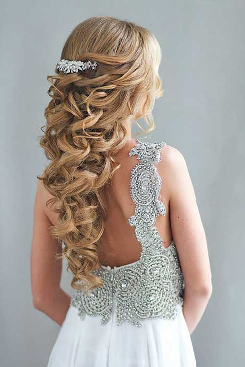 Blonde Bridal Hair Half Up and Down Style