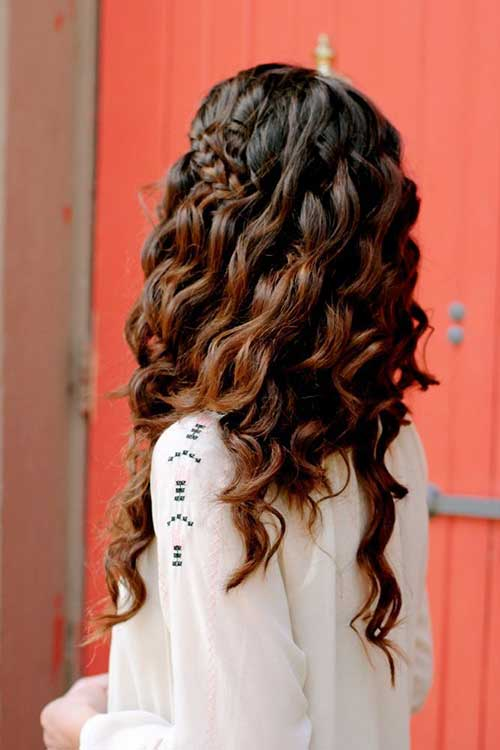 Brunette Hair Loose Curls and Braids 2015-2016