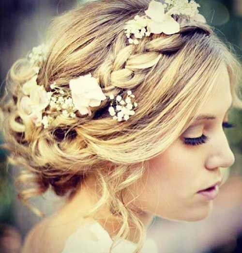 Best Cute Wedding Updo with Flowers