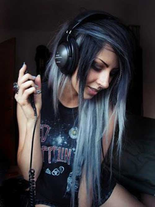 Dark Blue Punk Long Hair