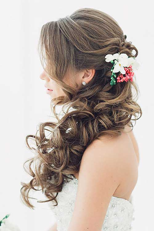Dark Brown Bridal Hairstyles Long Half Up Half Down