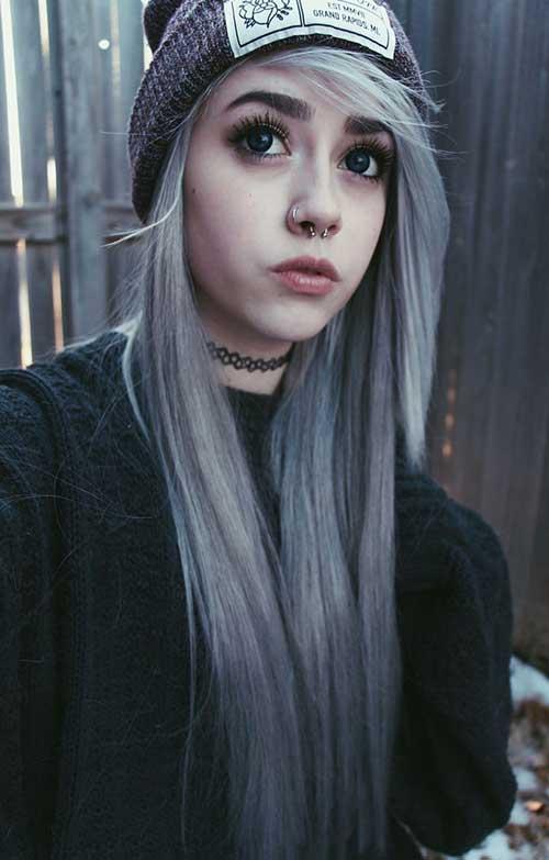 Trendy Dark Grey Hair