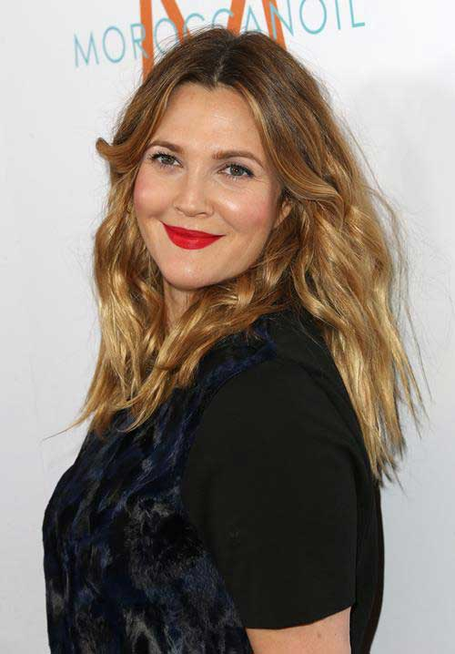 Drew Barrymore Hair 2015 Round Face