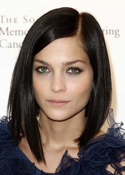 Long Bob Dark Hair Haircut Style