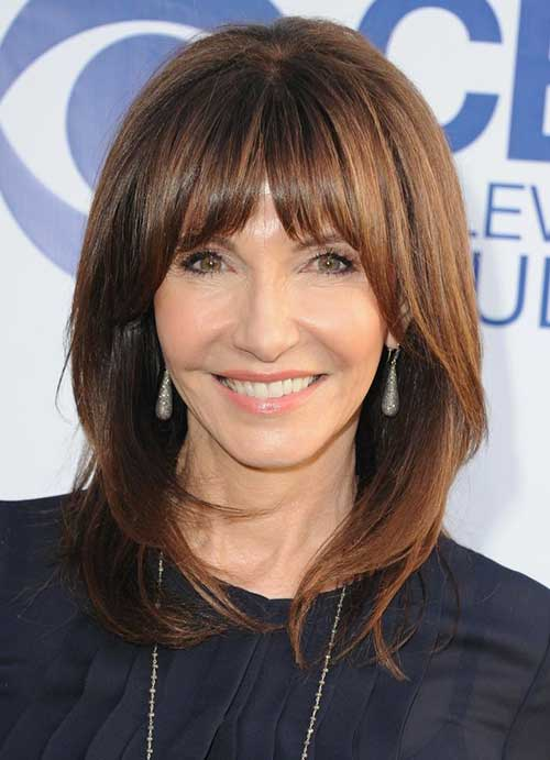 Mid Hairstyles for Women with Bangs Over 50