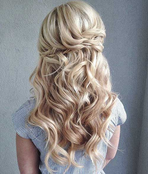 Half Up Long Hairdos for Wedding