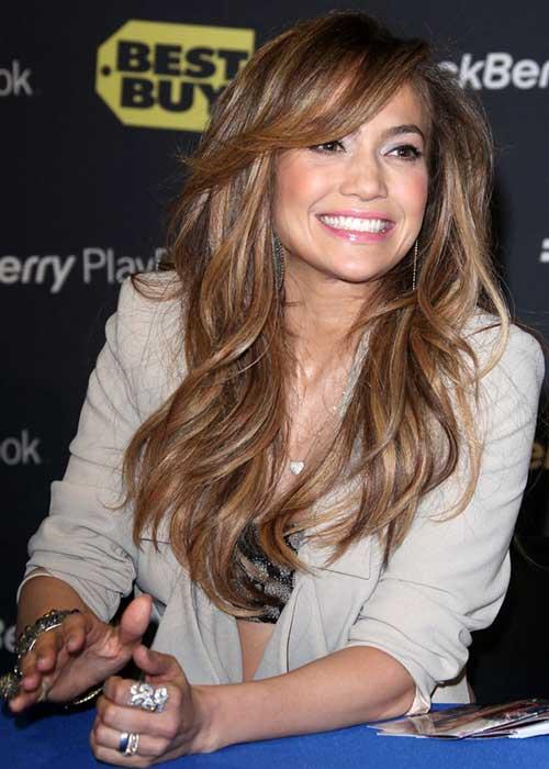 Jennifer Lopez Side Swept Bangs 2015