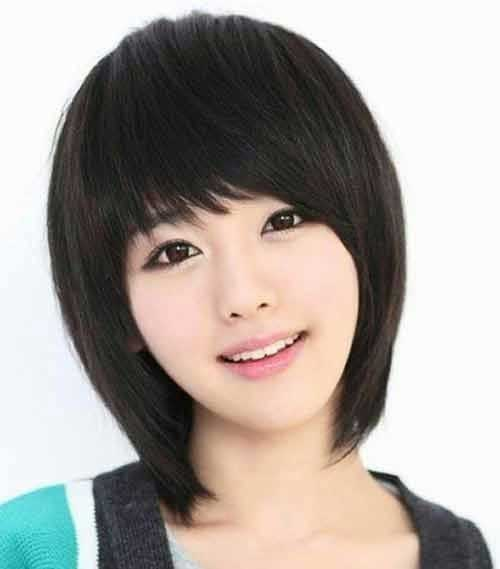 Latest Korean Short Hairstyles with Bangs 2014-2015