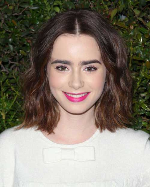 Lily Collins Nice Short Hair 2015