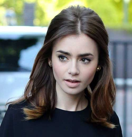 Lily Collins Shoulder Length Brunette Hair