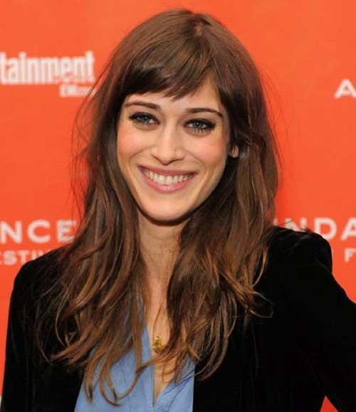 Lizzy Caplan Long Layered Hair with Bangs