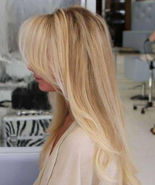 Best Long Blonde Hairstyles Side Swept Bangs