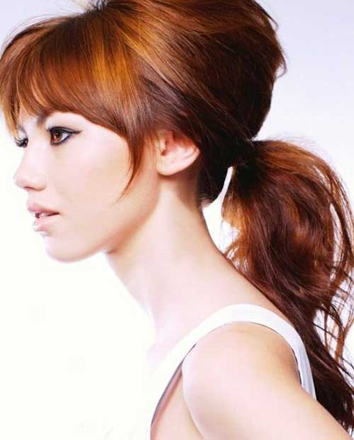 Best Long Copper Hair Ponytail with Bangs