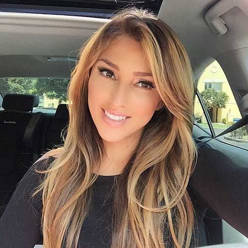 Long Highlighted Blonde Hairstyles Side Swept Bangs