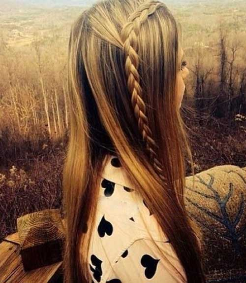 Simple Long Straight Hairstyles with Braids