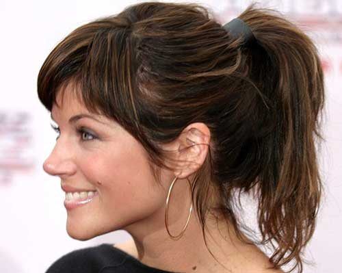 Medium Hair Ponytail Hairstyles with Bangs