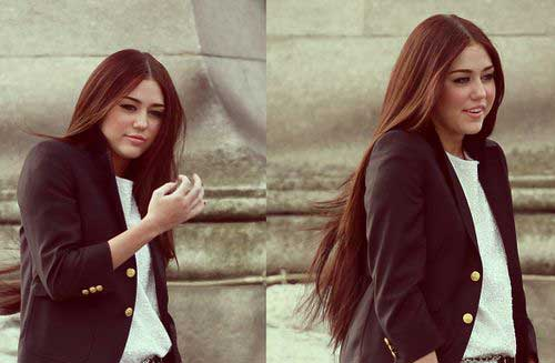 Miley Cyrus Long Brown Straight Hair