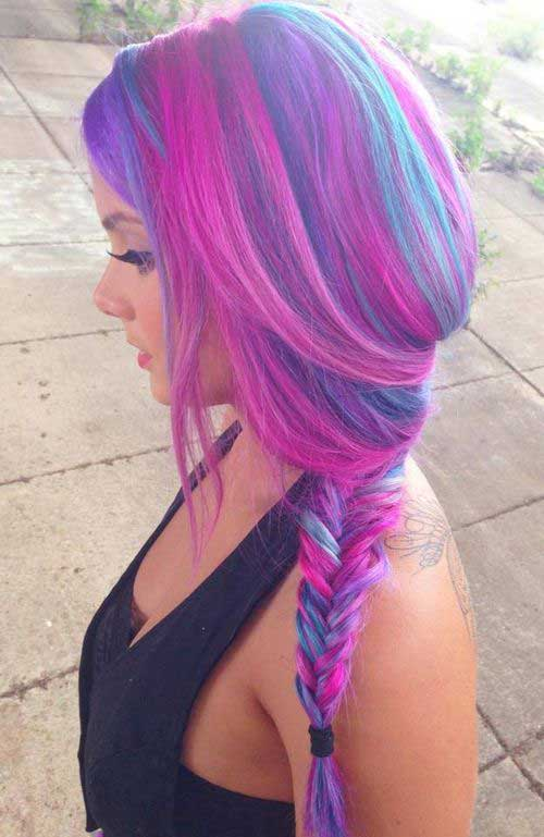 Pink Purple and Blue Hair