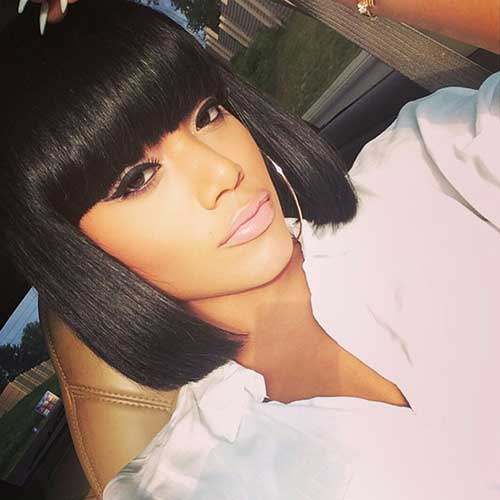 Short Black Bob Hairstyles with Bangs