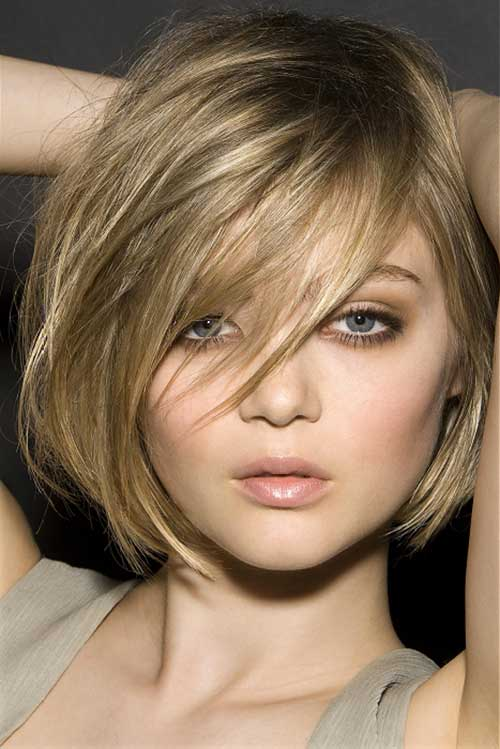 Best Short Bob with A Side Swept Fringe