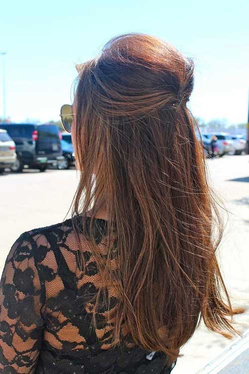 Easy Straight Half Up Long Hairstyles