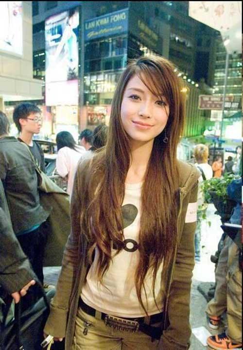 Super Long Hair Layered Side Bangs Cuts