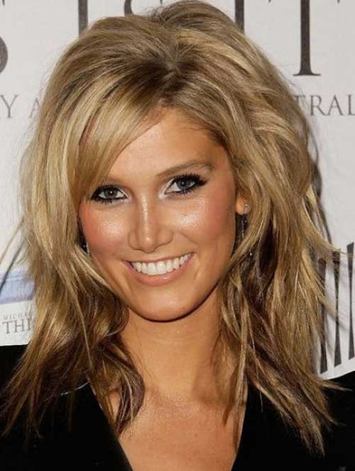 Best Thick Layers Hairstyles Round Face 2016