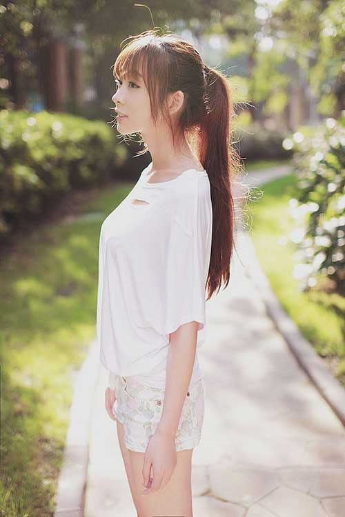 Best Very Long Ponytail with Bangs