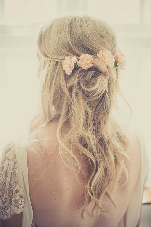 Wedding Half Up Hair with Flowers