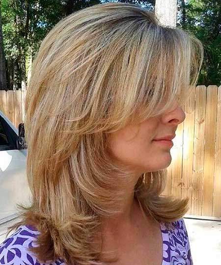 15+ Pics of Medium Length Hairstyles with Bangs and Layers ...