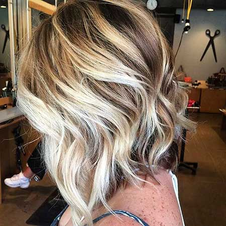 Platinum Highlights Brown Bob with Blonde Highlights, Balayage,