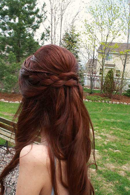 Teased, Up, Hairdos, Bun, Waterfall, Long