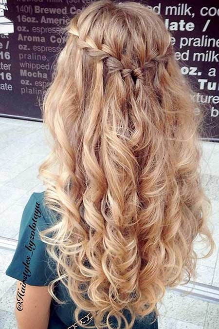 Long, Graduation, Fancy, Prom, Waterfall, Curls, Wedding