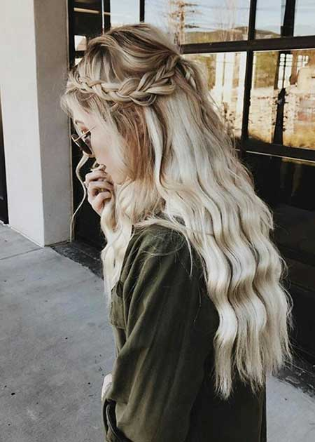 Crown, Waterfall, Blonde, Long