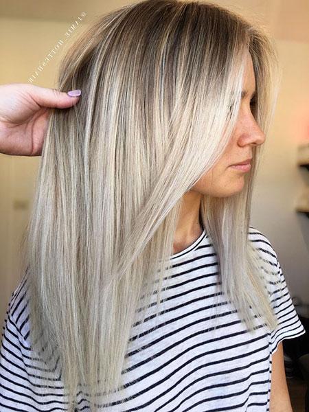 Blonde Balayage Lob Silver