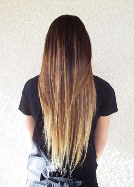 Straight Hair Cut and Color, Hair Ombre Brown Blonde