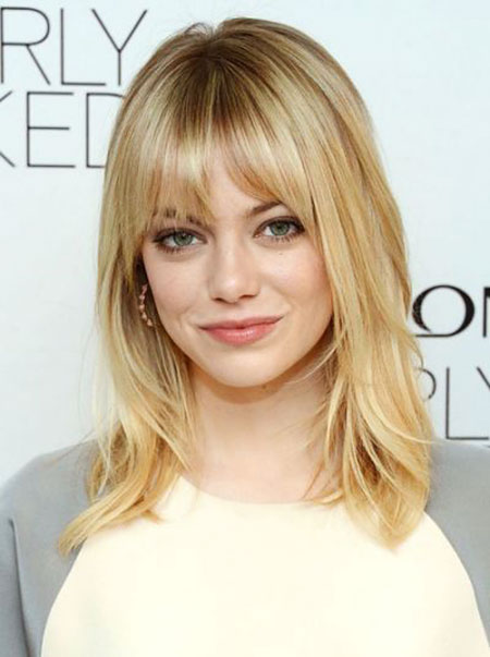 Emma Stone Hairtyl, Bangs Medium Length Hair