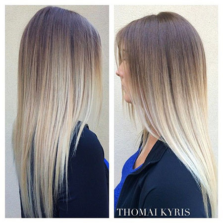 Ashy Blonde, Hair Blonde Balayage Ombre