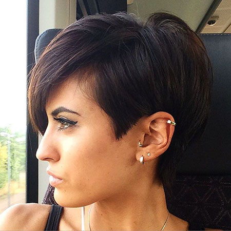 Pixie Cut Thick Hair, Pixie Brunette Long Thick