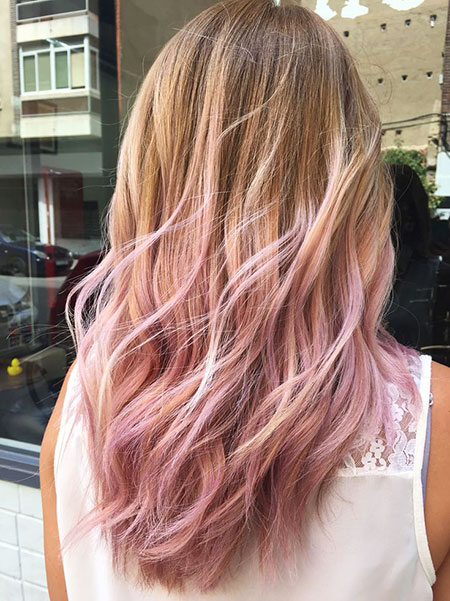 Pastel Pink Ombre for Dark Blonde Hair, Hair Gold Pink Rose