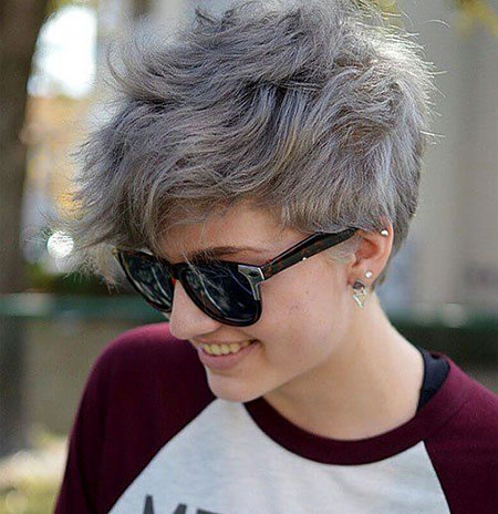Pixie Gray Layered Messy
