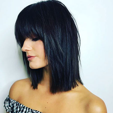 Bob Layered Angled Bangs