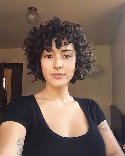 Hairstyles for Short Curly Hair Bangs