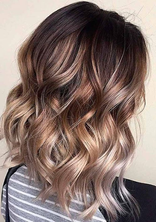 Ombre Medium Length Wavy Hairstyles-13