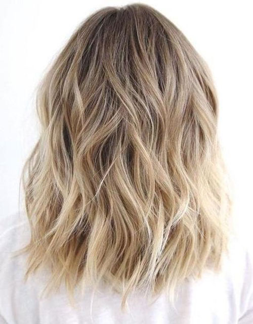 Medium Length Wavy Blonde Ombre Hairstyles-8