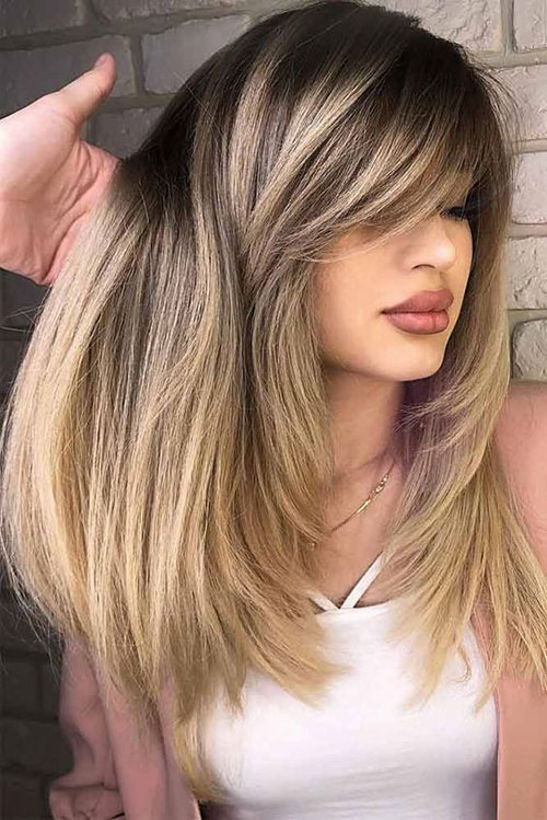 Long Straight Hairstyles With Side Bangs 2019