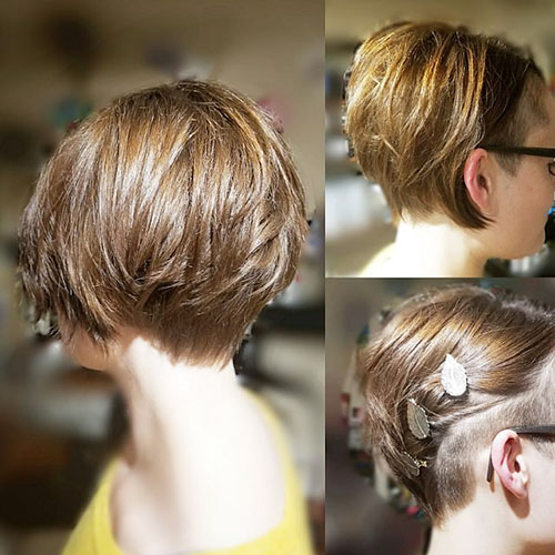 Newest Short Haircut Shaved Sides Female